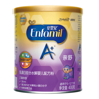 美贊臣(MeadJohnson)親舒幼兒特殊配方奶粉1段400g罐裝(0-12個月齡嬰兒適用)