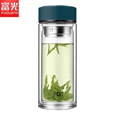 富光 玻璃杯WFB1020-500 500ml男女士带茶隔 便携创意双层泡茶玻璃水杯 500ml