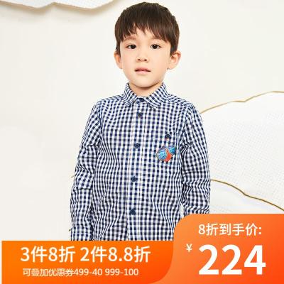马拉丁童装男童衬衫2020春装新款帅气口袋印花蓝白格纹翻领衬衫