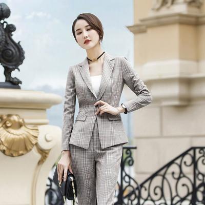 格子职业西装裙女套装2019新款韩版时尚气质修身工作服工装小西服