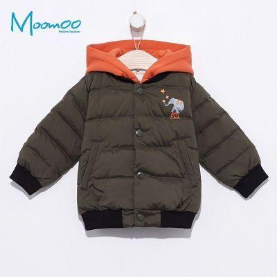 【2件2.5折價:99.8】moomoo童裝男嬰童多彩撞色連帽羽絨服