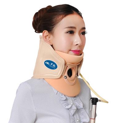 羅脈 頸椎牽引器 保護脖子 醫用家用頸托氣壓式拉伸護頸套 支撐固定矯正器男女老人落枕通用儀器 頸部疼痛 米黃色