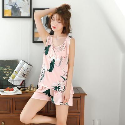 睡衣女夏棉綢套裝兩件套夏天薄款短褲女寬松可愛家居服莎丞