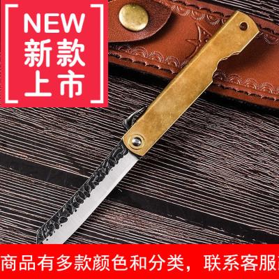 大马士革钢肥后守户外小刀随身折叠刀锋利刀具防身军工刀开刃
