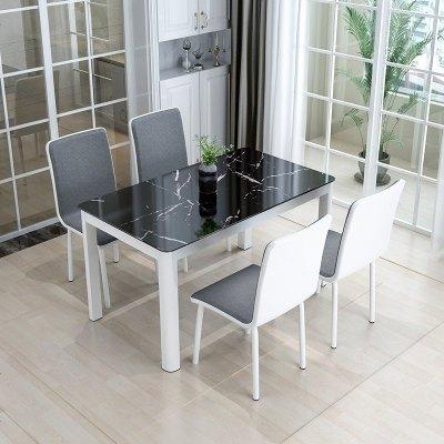 蘇寧放心購餐桌現代簡約鋼化玻璃小戶型飯桌家用餐桌椅組合經濟型烤漆桌子A-STYLE