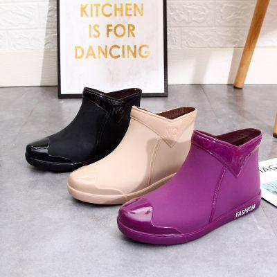 時尚短筒雨鞋女防水成人工作水靴廚房防滑厚底套鞋雨靴一體水鞋女臻依緣