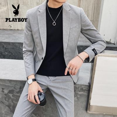花花公子 ( PLAYBOY ICON )西服套装男两件套纯黑色休闲西装韩版青年修身新郎帅气结婚礼服潮