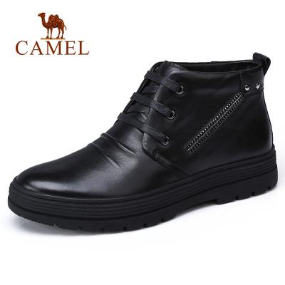 Camel/骆驼男鞋冬季男靴高帮鞋日常休闲鞋加绒爸爸软底驾车鞋男
