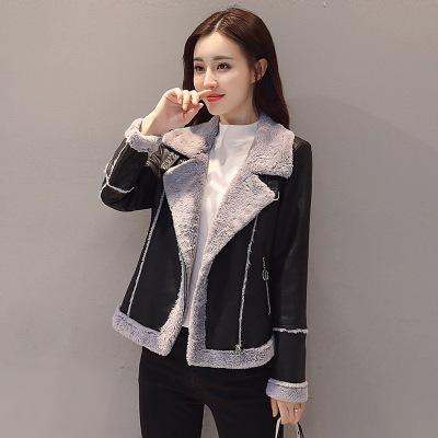 芷臻(zhizhen)皮衣女短款加厚加絨羊羔毛2020春秋裝新款保暖PU皮棉衣棉服夾克潮