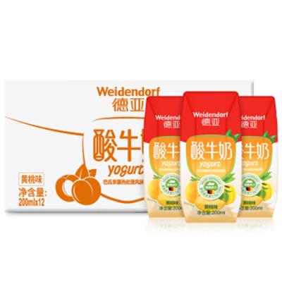 德國進口德亞悠慕滋黃桃味低脂酸奶牛奶200ml*12盒整箱 女士兒童早餐牛奶