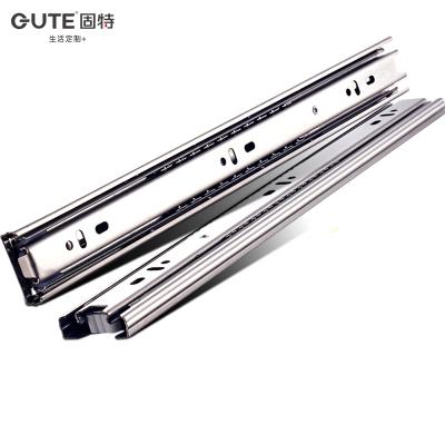 固特抽屜軌道三節軌加厚緩沖阻尼靜音滑道導軌五金配件不銹鋼滑軌