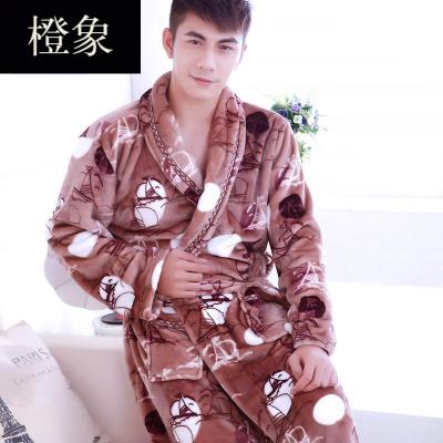 橙象珊瑚绒睡袍男加厚晨袍睡衣家居服法兰绒浴袍新款加绒秋冬季加大码