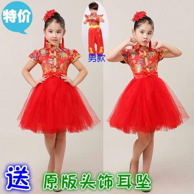 圣誕節兒童中國風喜慶龍袍蓬蓬公主裙舞蹈演出服女童古箏開紅表演禮服