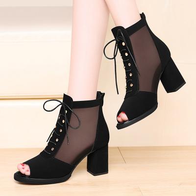 百年紀念網紗高幫涼鞋女粗跟2020新款夏季鏤空女鞋黑色魚嘴網靴52152
