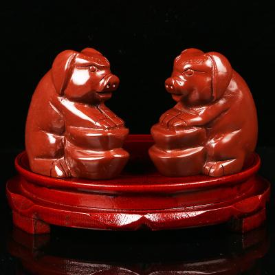 2020年生肖羊本命年吉祥物双猪承运摆件红石雕猪开运居家摆件