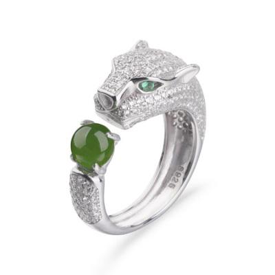 帛蘭梓韻 天然和田碧玉戒指時尚女款豹子頭戒指活扣指環純銀鑲玉石歐美玉石戒指