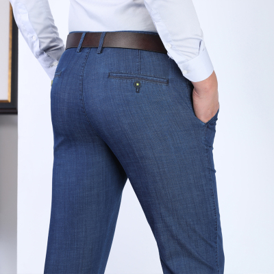 Jussara Lee2020冰絲彈力牛仔褲男商務休閑男士牛仔褲寬松直筒男褲子高腰彈力牛仔褲男夏季輕薄柔軟男裝長褲子
