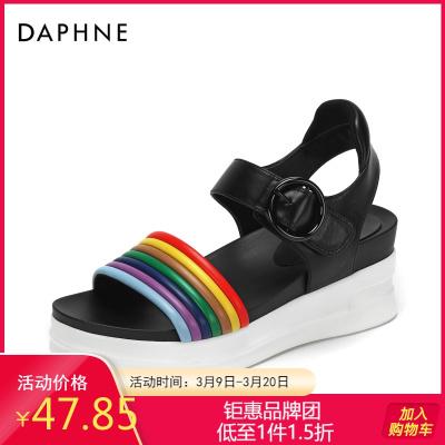 Daphne/達芙妮專柜正品女鞋 夏撞色坡跟舒適厚底彩虹涼鞋