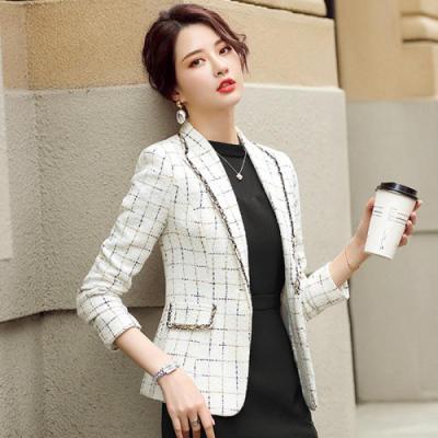 與牧秋季格子西裝外套女2020年新款韓版小香風氣質休閑小西服上衣7231