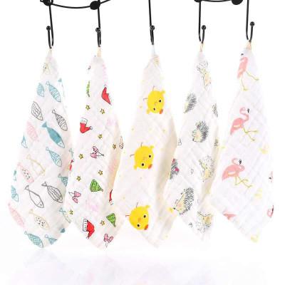 安笛貝樂嬰幼兒高密印花6層紗布嬰兒純棉紗布口水巾30*30CM