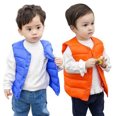 冬季新款童装儿童羽绒棉马甲中小童男女小孩羽绒修身保暖纯色马甲背心