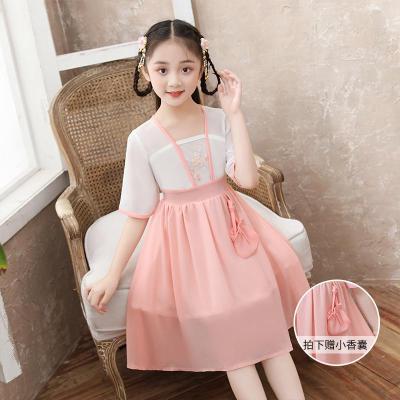 漢服女裝襦裙仙女裙兒童夏漢服女童連衣裙短袖古裝仙女改良中國風兒童飄逸唐裝連衣裙