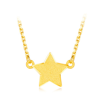 ZHAO LIANG兆亮珠寶 星星黃金項鏈女款 足金999項鏈套鏈精選 黃金首飾套裝 送戀人