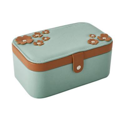 歐式珠寶首飾盒 多層便攜式飾品收納箱 pu創意首飾盒 果綠色