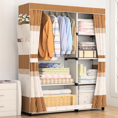 家时光 简易衣柜经济型布艺组装布衣柜双人钢管加固收纳柜子衣橱简约现代