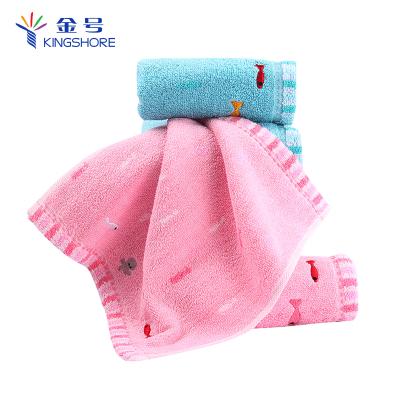 金號(KING SHORE) 純棉卡通方巾 寶寶口水巾 兒童洗臉小毛巾 母嬰適用 25*25cm 卡通4