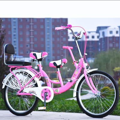 22寸淑女親子車自行車母嬰車母子車女式可帶小孩雙人單車復古自行車便攜輕巧輕便腳踏車男女變速腳踏車可帶人