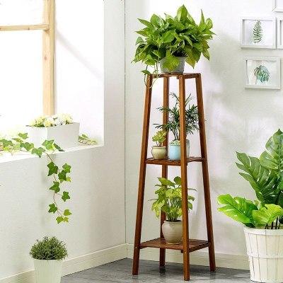 阳台客厅花架子多层室内特价竹子实木单个绿萝吊兰置物架简约现代