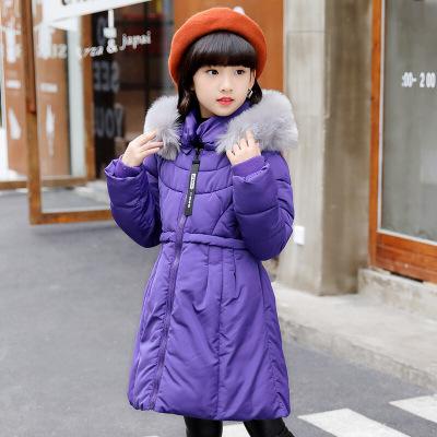 公主甜美冬裝女童中長款收腰連帽外套純色保暖兒童毛領棉服氣質街頭百搭棉衣