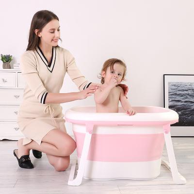 DuDi/青蛙嘟迪 母婴幼儿童婴儿浴盆宝宝洗澡盆儿童可折叠大号加厚洗澡桶可坐可躺小孩泡澡沐浴盆 粉色