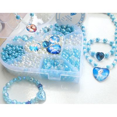 【精品特賣】兒童玩具小女孩手工串珠diy項鏈手鏈材料包女童首飾品穿珠子 高亮愛心藍冰雪1盒送線1剪刀1戒指