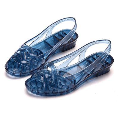 涼鞋女夏2020新款水晶時尚百搭防滑耐磨果凍透明外穿涼拖鞋eMara
