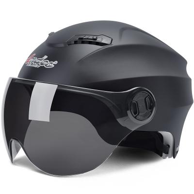 電動摩托車頭盔男電瓶車女士夏季半盔四季通用安全帽防曬個性可愛 啞黑配反光板 均碼