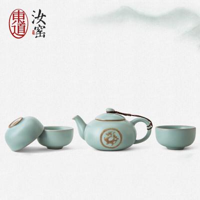 東道 汝窯 青瓷陶瓷套裝茶具 天龍天樂壺組 一壺三杯 開片可養 天青色