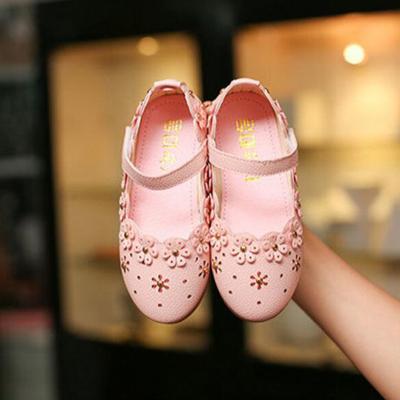 女童皮鞋公主鞋2019春秋新款韓版女童鞋寶寶鞋兒童單鞋鉆石花豆豆鞋 莎丞
