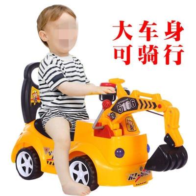 新款仿真可坐人玩具車工程車滑行車挖掘機特技車男孩可坐可騎挖土機寶寶3歲以上小孩兒童非充電炫酷塑料模型貝爵(BEIJUE)