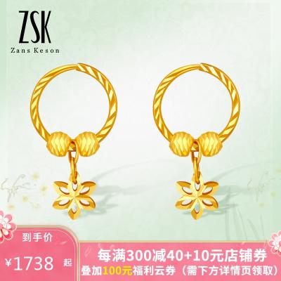 ZSK珠寶 黃金耳環女 水仙花足金耳釘黃金耳飾耳墜耳吊女款氣質新款 送女友 老婆禮物(計價)