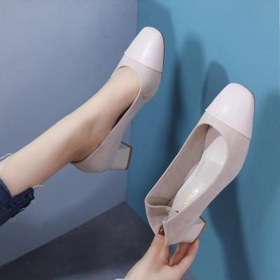 2020春秋新款百搭小清新粗跟鞋小香風中跟OL通勤方頭簡約高跟鞋女