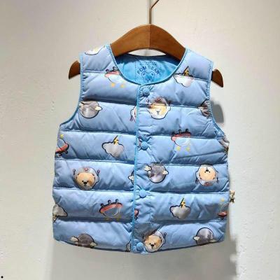 波姆熊冬宝宝轻薄马甲小熊男童婴儿背心轻薄保暖儿童羽绒马甲中小