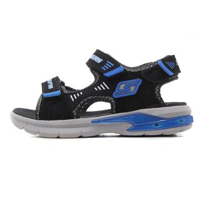 【自营】skechers斯凯奇正品童鞋夏季男小大童闪灯凉鞋运动鞋90555L 90555L/BGRD黑色+炭灰色+红色