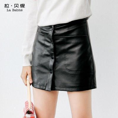 新品拉贝缇半身裙秋冬款韩版百搭高腰显瘦短裙黑色皮包臀裙女60300157