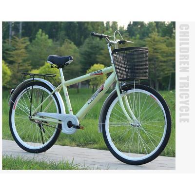 升級復古26寸男式成人單車城市自行車通勤輕便普通車學生 24【裸車】紅色 單速 26英寸