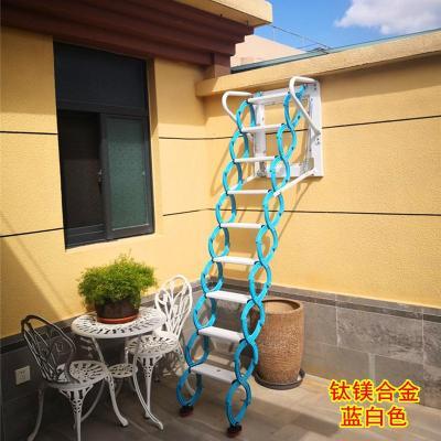 新達室外壁掛墻面升降伸縮樓梯閣樓隔層隱形折疊節省空間登高梯子定制 新款加厚加強鋼制2.48米以內