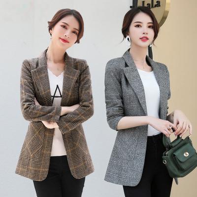HKLM大码女装新款秋季上衣韩版短款千鸟格子毛呢休闲女士小西装外套女棉服