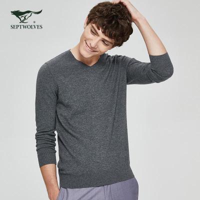 七匹狼純羊毛衫2020春季新款男士V領休閑針毛衣男裝