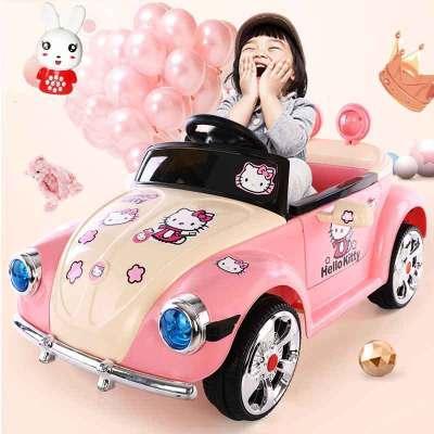 【品质保障】复古甲壳虫儿童电动车四轮汽车宝宝摇摆小女孩女生充电跑车遥控玩具车可坐人粉色公主车儿童生日礼物